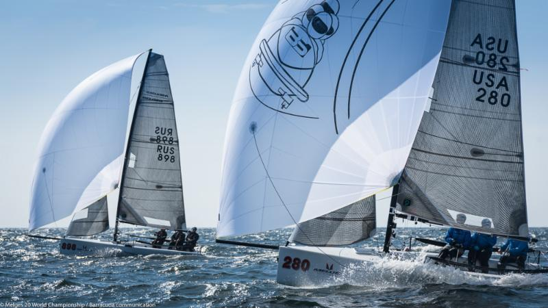 Igor Rytov's RUSSIAN BOGATYRS (RUS-898) and Bob Moran's BOBSLED (USA-280) blast downwind on day 2 of the Melges 20 Worlds at Newport, R.I. - photo © Melges 20 World Championship / Barracuda communication