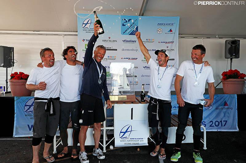 The happy team of Maidollis celebrating their victory at the Melges 24 Worlds in Heksinki - photo © Pierrick Contin / www.pierrickcontin.com