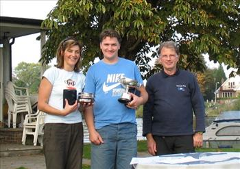 Nim and Andy Harris who were presented with the Elizabeth Bowl and Sondown Cup by Commodore Peter Mason