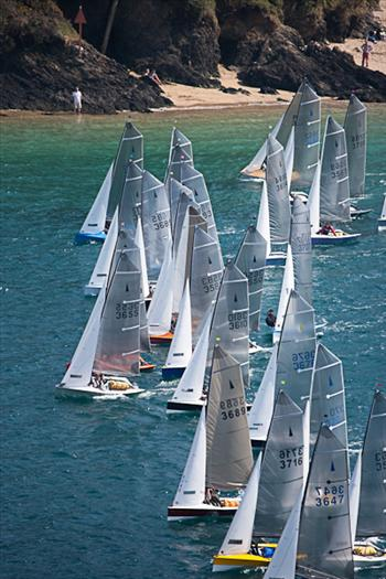 Start of the second race on Saturday at the Salcombe open meeting