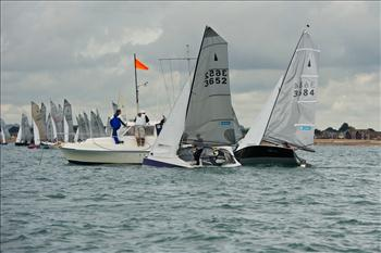 Andy Davis and Tom Pygall match race with Geoff Carveth and Graham Williamson for the Merlin Rocket nationals title
