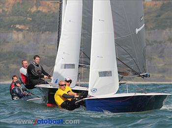 Day 3 of the Merlin Rocket nationals at Lyme Regis