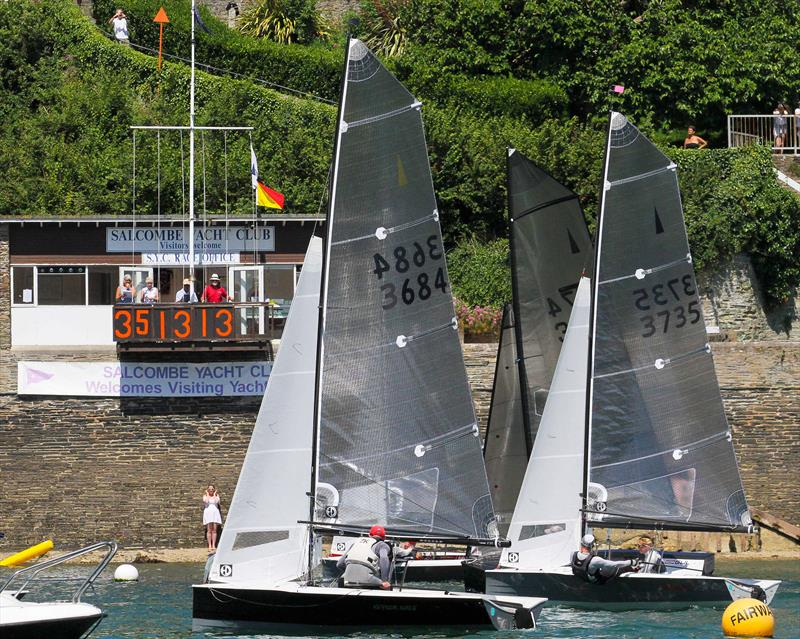 Sharps Doom Bar Salcombe Merlin Week day 5 (morning race) - first four boats finishing very close - photo © John Murrell / www.moor2seaeventphotography.co.uk