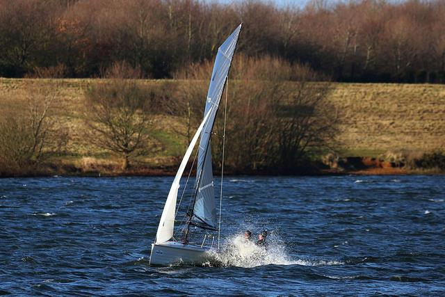 Speedy Merlin Rocket on day 1 of the Alton Water Frostbite Series - photo © Tim Bees