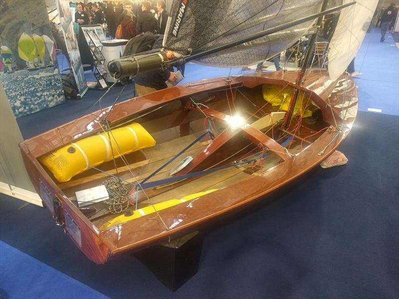 The beautifully restored and redecked Merlin Rocket at the RYA Dinghy Show 2018 photo copyright Mark Jardine / YachtsandYachting.com taken at RYA Dinghy Show and featuring the Merlin Rocket class