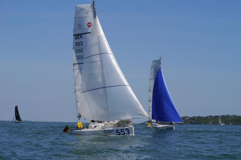 Mo'Jo & Vertigo during the UK Solent 6.50 Mini race - photo © Graham Nixon, Caroline Pommeret & Yves Le Blevec
