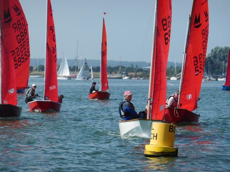 Mirror fleet soon after start with winner Dan Dixon leading at Blackwater SC Club Week 2016 - photo © Chris Nicholls