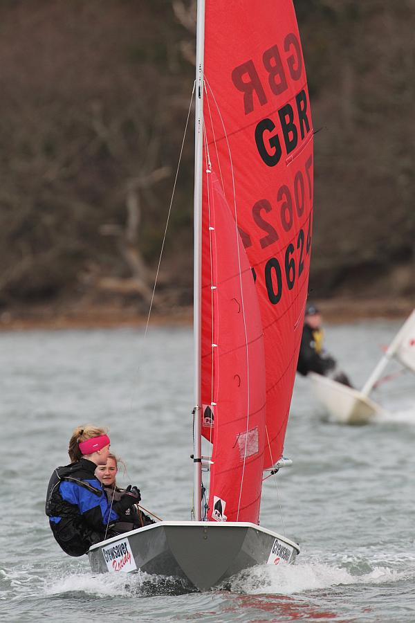 Grace Yeoman & Izzy Barker enjoy Snowflake race 2 photo copyright Ben Godwin taken at Chichester Yacht Club and featuring the Mirror class