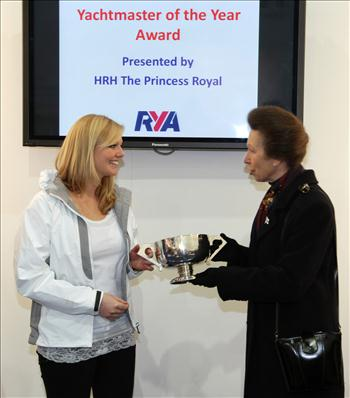 HRH The Princess Royal awards Emily Penn with the RYA Yachtmaster of the Year