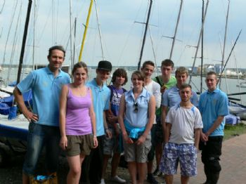 'Medway Sport Leadership' youngsters and their leader who help out during the Medway Dinghy Regatta