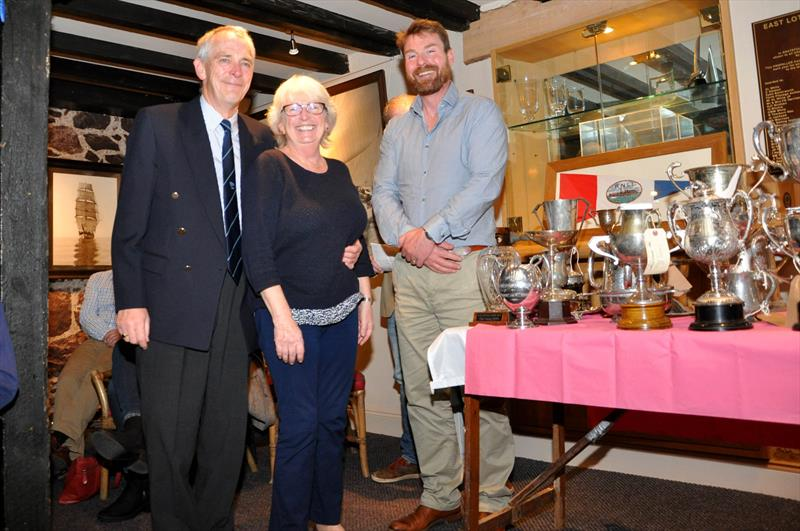 Bill and Grace Roberts, with the Robbie Lawson, Commodore. Bill and Grace who sail a 2000 Dinghy, were presented with 7 trophies at the East Lothian Yacht Club Prize Giving - photo © David Farmer