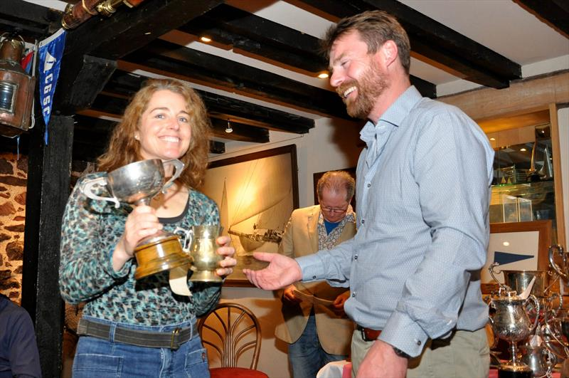 Debra DeCrausaz was presented with the 'Best New Sailor' trophy by Robbie Lawson, Commodore at the East Lothian Yacht Club Prize Giving - photo © David Farmer