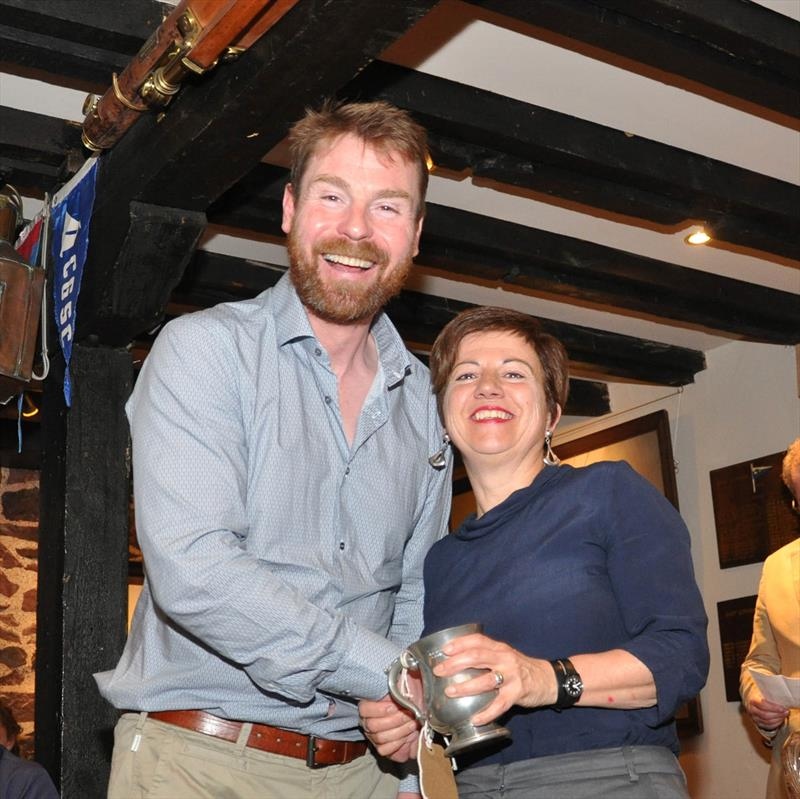 Hilary Fraser was presented with a trophy for the 'Go Racing' Monday Series, by Robbie Lawson, Commodore at the East Lothian Yacht Club Prize Giving - photo © David Farmer
