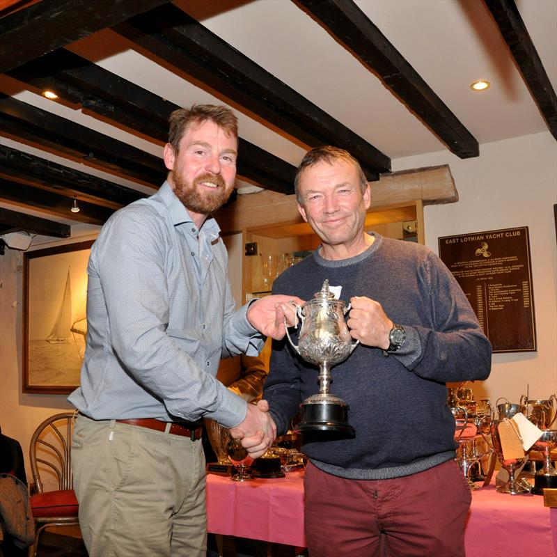 Iain McGonigal was presented with the 'Trainer of the Year' trophy by Robbie Lawson, Commodore at the East Lothian Yacht Club Prize Giving - photo © David Farmer