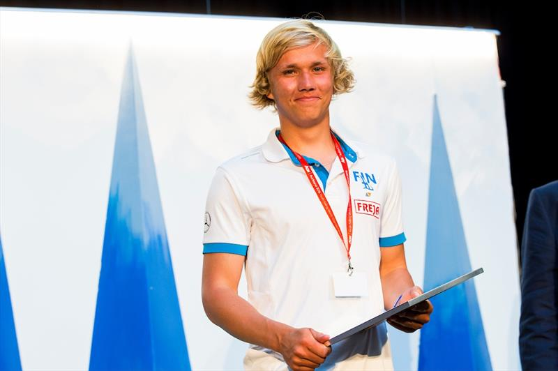 Martin Mikkola wins the Bengt Julin Trophy at the Aon Youth Worlds - photo © Pedro Martinez / Sailing Energy / World Sailing