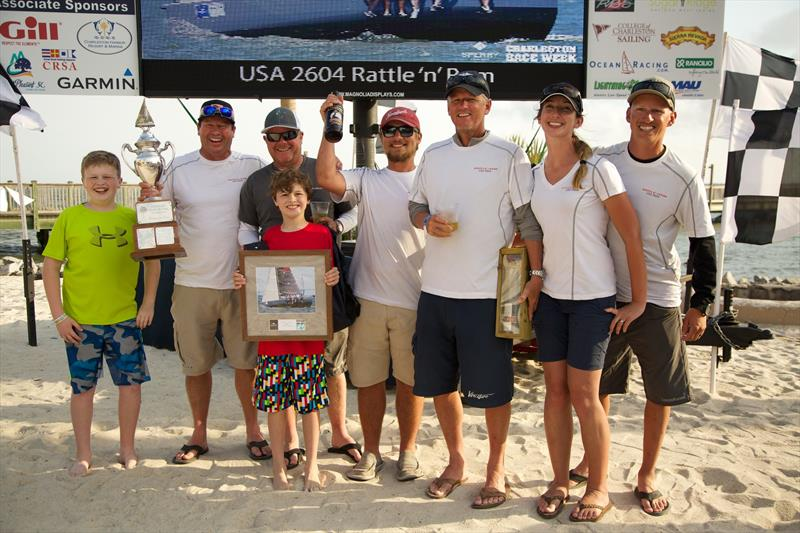 Mike Beasley (second from left) and his Annapolis, MD-based crew show their elation at winning the Palmetto Cup Perpetual Trophy, the overall award for best performance among handicap classes - they dominated a talented at Sperry Charleston Race Week 2017 - photo © Charleston Race Week / Meredith Block