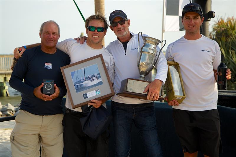 Fresh from their J/70 World Championship performance a few months ago in San Francisco, Joel Ronning's (second from right) Catapult team edged out a close victory in the big J/70 Class at Sperry Charleston Race Week 2017 - photo © Charleston Race Week / Meredith Block