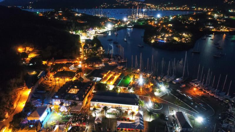 Antigua Sailing Week at night from the sky - photo © Paul Wyeth / www.pwpictures.com
