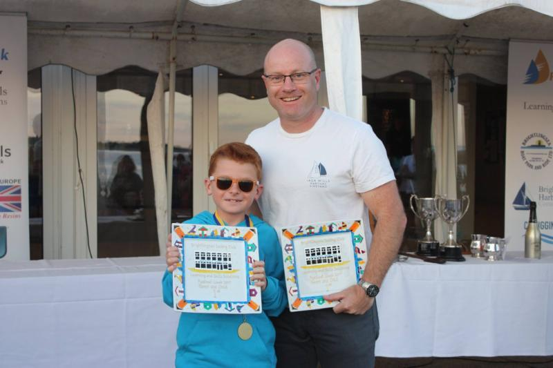 Tom and Stuart Phillips, winners of the Parent and Child Handicap at Learning & Skills Solutions Pyefleet Week - photo © Mandy Bines