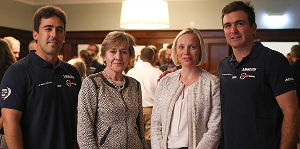 Prior to dinner, Dame Polly Courtice welcomed sailors to the university and Jo Royle spoke about her sailing experience and passion for protecting the marine environment (l-r) Mark Towill, Dame Polly Courtice, Jo Royle, and Charlie Enright - photo © 11th Hour Racing