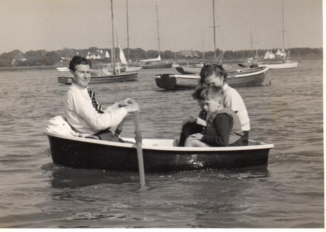Max Johnson with his family out afloat in one of the very first GRP tenders = Max was a true visionary for the new material - photo © Westell Family