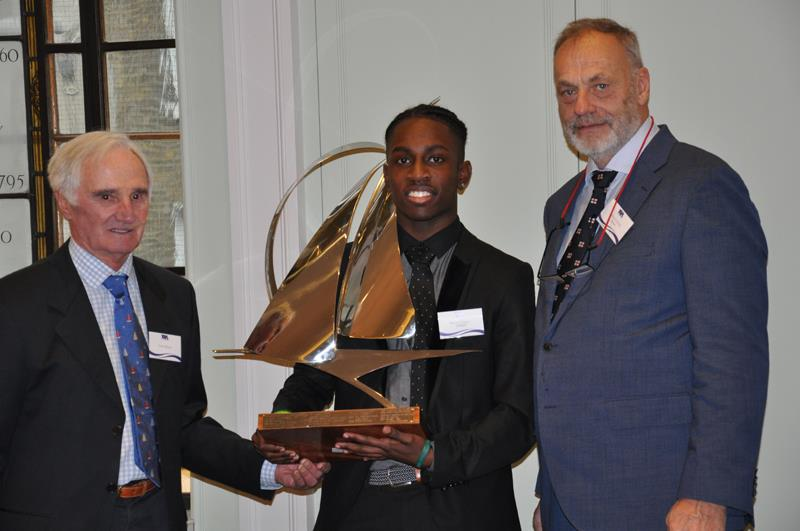 17 year old Montel Fagan-Jordan from the Greig Academy in Tottenham; London is presented with the YJA Young Sailor of the Year Award by former Olympic Silver medalist and Yachtsman of the Year winner Keith Musto MBE; and Barry Pickthall; YJA Chairman - photo © Cliff Webb