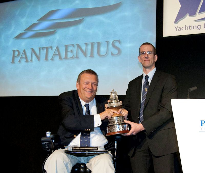 Geoff Holt presents Nick Craig with the YJA Pantaenius Yachtsman of the Year Trophy