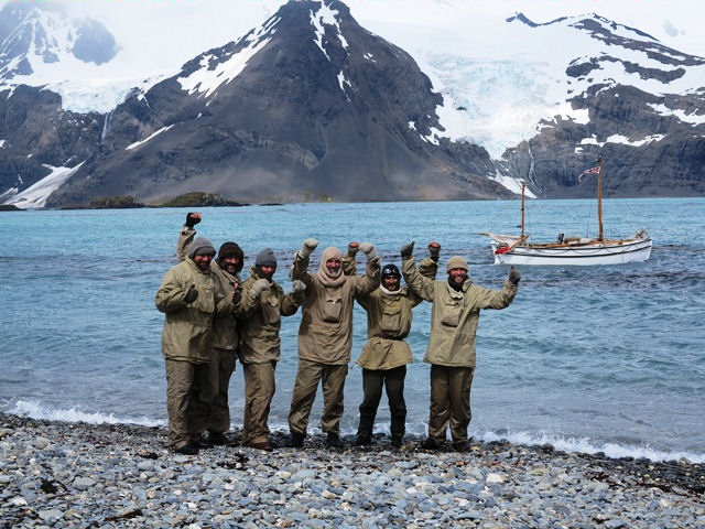 The crew of alexandra shackleton onshore at south georgia - Advantages disadvantage buying replica nautical globe bar ...