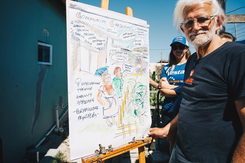 A cartoonist, N.D. Mazin, joined the event to capture the event with local flare - photo © Atila Madrona / Vestas 11th Hour Racing