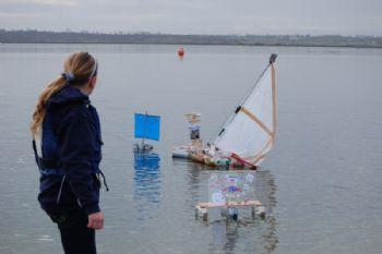 Bottle Boat racing at Cheddar Reservoir