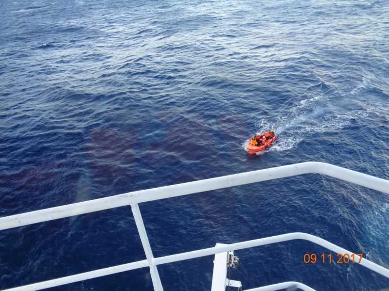 The Multi 50 Drekan Groupe capsizes in the Transat Jacques Vabre - photo © Beautriton