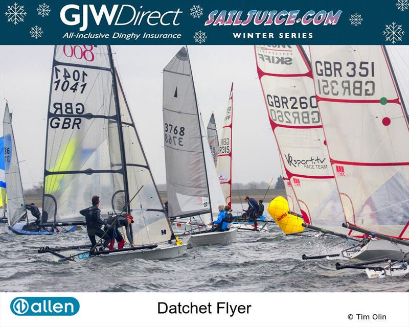 Musto Skiffs rounding a mark during the GJW Direct SailJuice Winter Series Datchet Flyer - photo © Tim Olin / www.olinphoto.co.uk