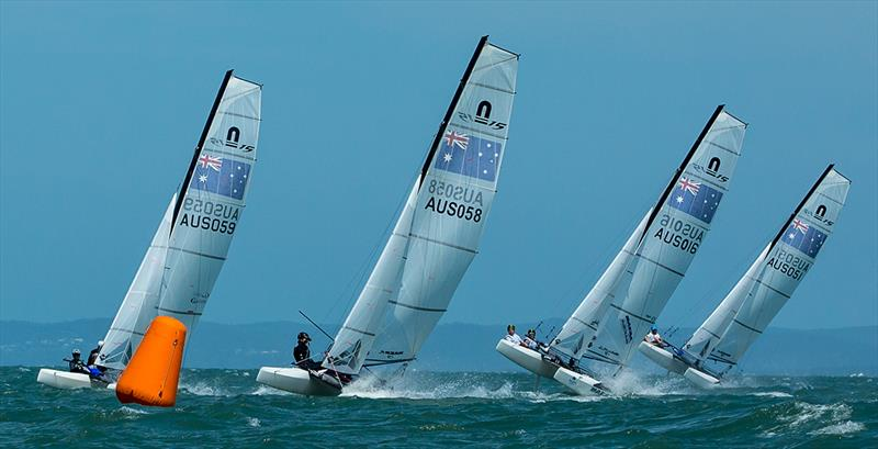 Nacra 15s sending it at 2018 Australian Youth Championships photo copyright RQYS Natasha Hoppner taken at Royal Queensland Yacht Squadron and featuring the Nacra 15 class