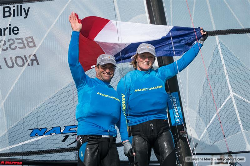 Medal race celebrations of the Nacra 17, 49er & 49erFX Worlds in Clearwater, Florida - photo © Laurens Morel / <a target=