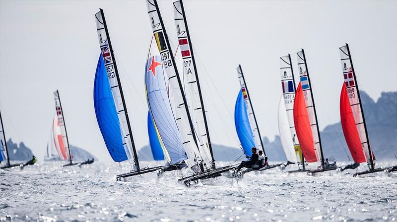 Nacra 17 fleet on day 2 at World Cup Hyères - photo © Pedro Martinez / Sailing Energy / World Sailing