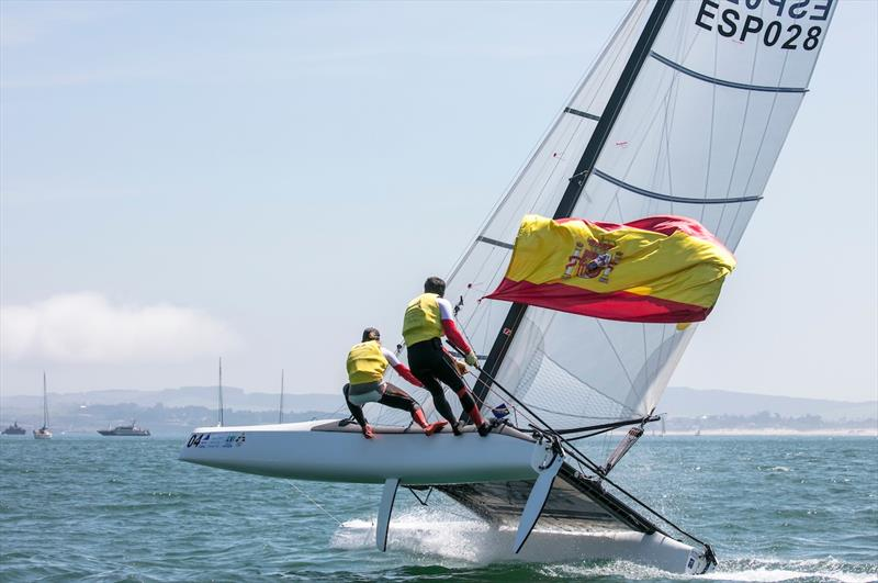 Echavarri and Pacheco fly the Spanish flag on day 5 of the World Cup Series Final in Santander - photo © Jesus Renedo / Sailing Energy / World Sailing