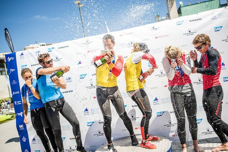 Nacra 17 Podium on day 5 of the World Cup Series Final in Santander - photo © Tomas Moya / Sailing Energy / World Sailing