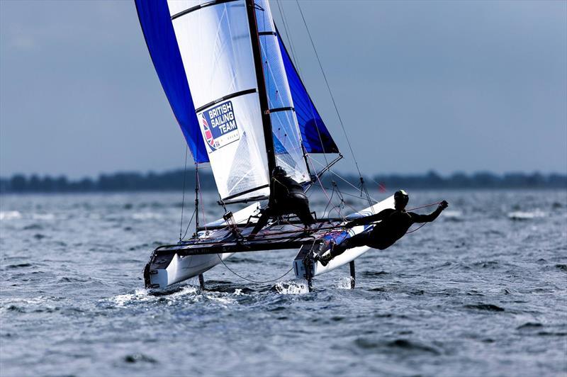 Ben Saxton & Katie Dabson during the Nacra 17 Europeans at Kiel - photo © Pedro Martinez / Sailing Energy