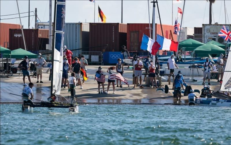 USA shore welcome crew ready for Riley and Anna's return - Tokyo 2020 Olympics - photo © Sailing Energy / US Sailing