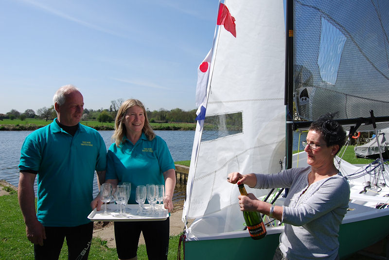 Commodore's wife Judy Saunders officially names newest National 12 'Treebore' at Henley Sailing Club