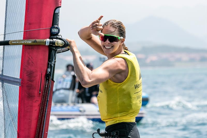 Patricia Freitas full of smiles afer her RS:X gold on day 5 of the World Cup Series Final in Santander - photo © Jesus Renedo / Sailing Energy / World Sailing