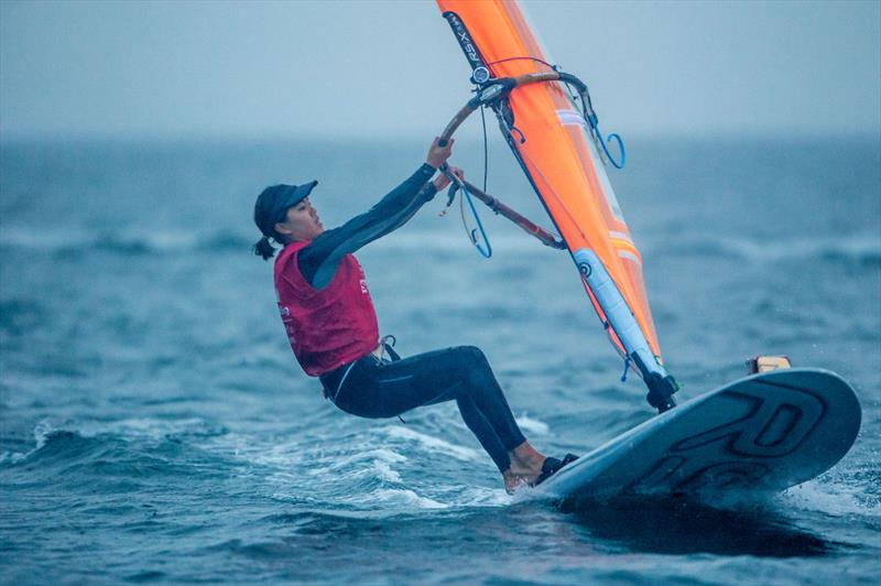 Women's RS:X Champion Hei Man H V Chan (HKG) at 2017-18 World Cup Series in Gamagori, Japan photo copyright Jesus Renedo / Sailing Energy / World Sailing taken at  and featuring the RS:X class