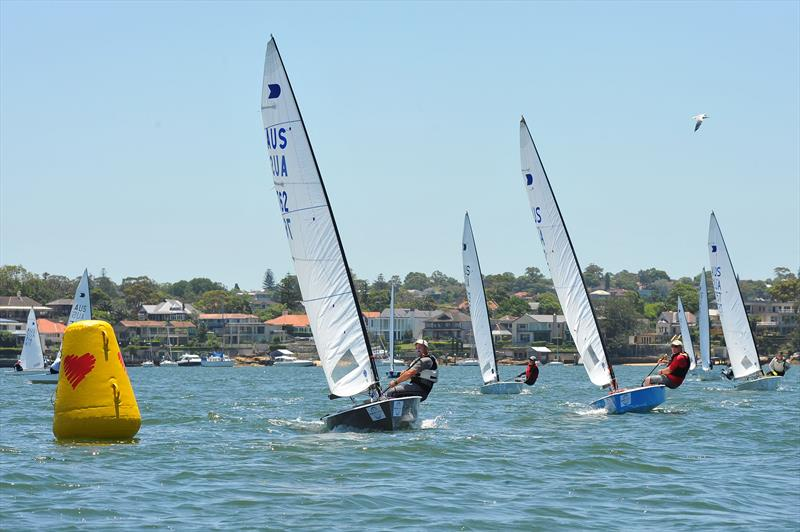 Peter Horne leads coming to mark on day 1 at the Australian OK Nationals - photo © Bruce Kerridge