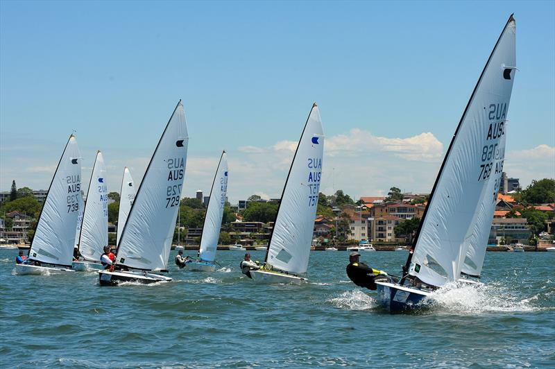Front runners on the windward leg on day 1 at the Australian OK Nationals - photo © Bruce Kerridge