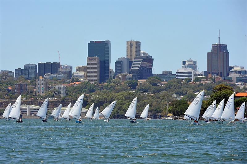 Fleet on the run on day 2 at the Australian OK Nationals - photo © Bruce Kerridge