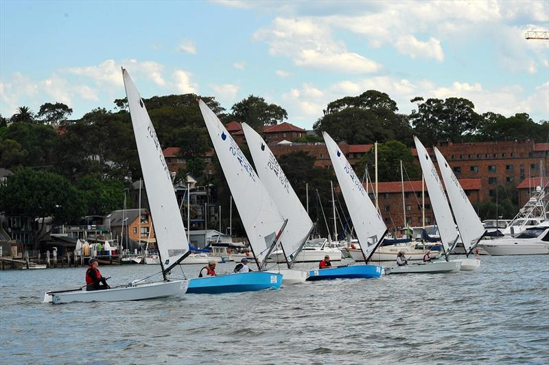 Downwind on day 3 at the Australian OK Nationals photo copyright Bruce Kerridge taken at Drummoyne Sailing Club and featuring the OK class