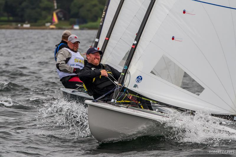 Charlie Cumbley with his starting face on - day 2 of the OK Dinghy European Championship - photo © Robert Deaves