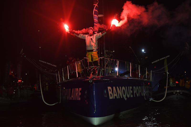 Armel Le Cleac'h on Banque Populaire VIII wins the Vendée Globe 2016-17 - photo © Vincent Curutchet / DPPI / Vendee Globe