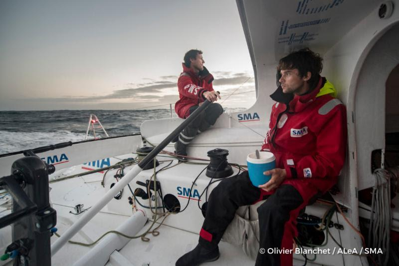 Doublehanded crew of Paul Meilhat and Gwénolé Gahinet on the IMOCA 60 SMA during the Rolex Fastnet Race - photo © Olivier Blanchet / ALeA / SMA