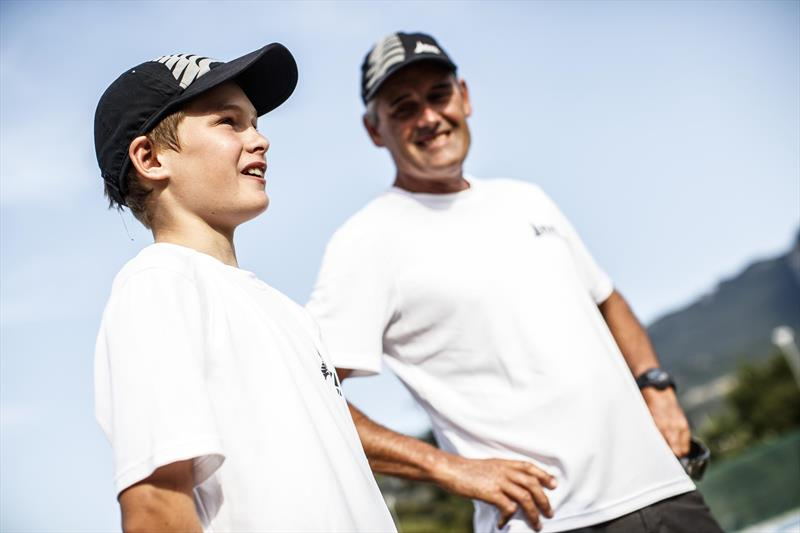 Mathian and Russell Coutts during the O'pen Bic Worlds at Lake Garda - photo © Jacopo Salvi